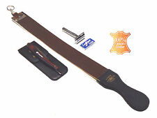 4pcs Brown Handle Folding Shaving Straight Razor & Leather Sharpening Strop