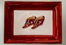 ASIANERA Chinese LOTUS SLIPPERS SHOES Hand-Painted Bone China Trinket Dish