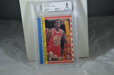 1987 Fleer Sticker Card #2 Michael Jordan Beckett 8 NM-MT