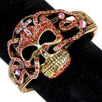Damen Gold Metall  Rot Skelett Totenschädel Pirate Armband Mode