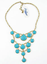 Lucky Brand Turquoise Stone Gold Tone Bead Frontal Collar Necklace NEW