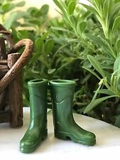 Miniature Dollhouse FAIRY GARDEN Accessories ~ Green Rubber Rain Work Boots NEW