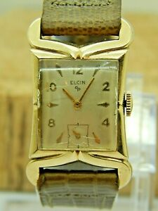Vintage 10K Rolled Gold Plate Elgin 1950s Gents wrist watch cal 673 17 jewels