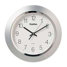 """Dainolite 14"""" Diameter Quartz Clock Plastic Face Silver - 29012-MT-SV"""