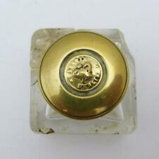 19th CENTURY CRYSTAL GLASS INKWELL WITH BRASS SCREW TOP MARKED AUSTIN DUBLIN