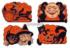 Vintage Halloween Witch Black Cat Pumpkin Quilting Fabric Block Set