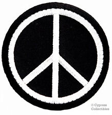 PEACE SIGN iron-on embroidered PATCH new HIPPIE black APPLIQUE anti-war