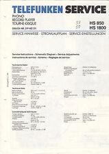 TELEFUNKEN service manual istruzioni HS 850 HS 1800 b1543