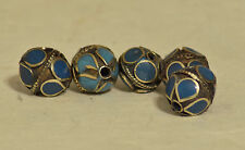 Beads Turquoise Brass Oval Beads 5 Lot Middle Eastern