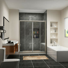 "Sunny Shower Double Sliding Shower Doors 60"" Semi-Frameless Glass Brushed Nickel"