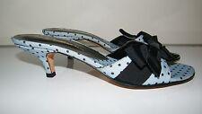 Beverly Feldman Blue Polka Dot Bow Kitten Heel Mule Shoes SZ 8