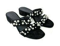 J Crew Womens Size 7 Black Double-Strap Suede Slides With Pearls