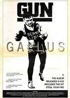 "11/4/92 Pgn11 GUN : GALLUS ALBUM/TOUR ADVERT 15X11"" FRAMED"