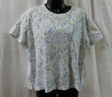 White Stag Vintage 1980 Knit Top Size XL 16-18 Blue Floral Short Sleeve Cotton