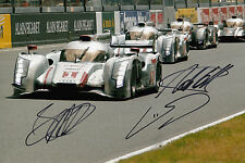 Lotterer, Duval, Treluyer Hand Signed Audi Sport Team Joest 12x8 Photo Le Mans.
