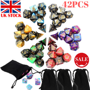 42 Pcs Embossed Heavy Metal / Acrylic Polyhedral Dice DND MTG RPG SET + Bags
