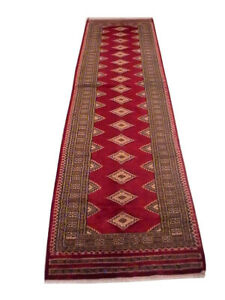 Perfect 2 ft 6 in x 10 ft Silk outline Handmade Jaldar Deep Wine Red New Rug