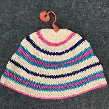Vintage Hand Knit Cotton Baby Cap Cream Color Pink & Blue Stripes Cute Tassel
