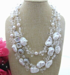 """3 Strands White Freshwater cultured Keshi Pearl&Crystal Necklace 19"""""""