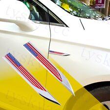 Chrome Metal Car Fender 3D Sticker Decal American USA US Flag Badge Logo Emblem