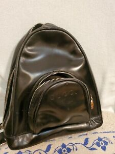 GUCCI Bamboo One Shoulder Backpack Patent Leather Black Italy 003.3444.0123