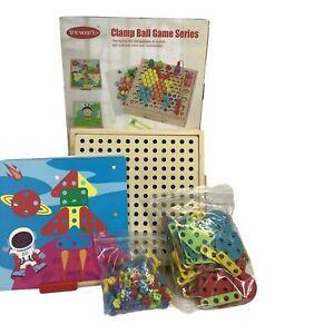 Educational Wooden Screw Block Assembling Matching Game Toy Natural Wood B3