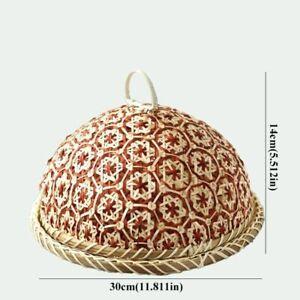 Bamboo Rattan Straw Basket With Lid Food Fruit Wicker Kitchen Storage Organizers