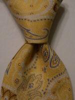 IKE BEHAR Mens 100% Silk XL Necktie USA Designer Geometric Yellow/Brown/Blue EUC