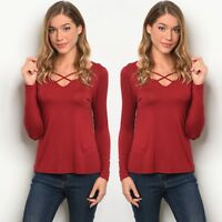 NWT Women's Small Burgundy Red Wine Long Sleeve Blouse BOUTIQUE TOP