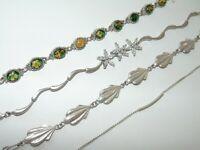 4 Misc Vintage Sterling Silver Chain Bracelet Argent Flowers Scallops Bar 925