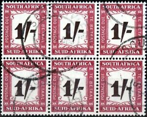South Africa 1958 1s Black-Brown & Purple-Brown SGD44 Fine Used Block of 6 (3)