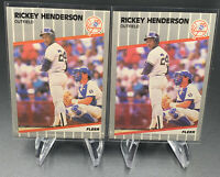 1989 Fleer Rickey Henderson #254 Oakland Athletics Lot X2 + 1991 Upper Deck lot2