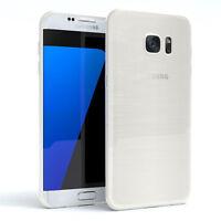 Schutz Hülle für Samsung Galaxy S7 Edge Brushed Cover Handy Case Weiß