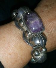 Vintage Chunky Mexican Sterling Silver Old Mark Cabachon Amethyst Bracelet 78 G