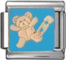 TEDDY BEAR BABY BOY BLUE Enamel Italian 9mm Charm NC245 Fits Nomination Classic