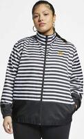 Nike Sportswear Womens Woven Athletic Jacket Black White Stripe Ref Plus Size 3X