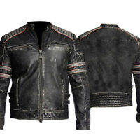 Mens Biker Vintage Motorcycle Distressed Black Retro Leather Jacket