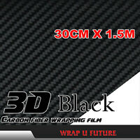 "3D Gloss Black Carbon Fiber Fibre Car Vinyl Wrap Stickers Film 1.5Mx30CM 60""x12"""