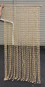 Vtg Mid Century Door Curtain Fringe Room Divider 70's Wicker Ring Wall Decor EUC