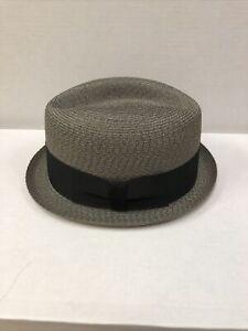 Mens Otis Club Exclusively By Baskin Fedora Hat Stingy Brim Straw 7 1/8 Medium