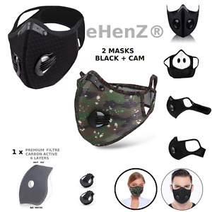MASQUE TISSU MESH SPORTS CAMOUFLAGE LAVABLE FILTRE F99 6 LAYERS CARBON ACTIVE