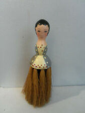 VINTAGE ART DECO WOODEN LADY HALF DOLL CLOTHES BRUSH WHISK