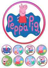 PEPPA PIG CAKE TOPPER 7 INCH ROUND INCLUDES 32 CUPCAKE TOPPERS AMAZING!
