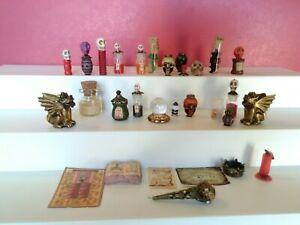🎃 Halloween Lot Dollhouse Miniatures  Skulls/Potion Bottles/Crystal Ball 🎃