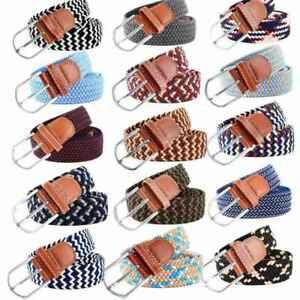 Belts Braided Mens Ladies Buckle Woven Canvas Webbing Leather U Stretch Elastic
