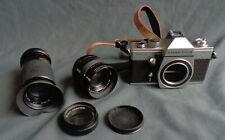PENTACON PRAKTICA MTL 3 camera 42mm screw mouth met 3 lenzen w/ lenses vintage