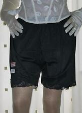 Vintage style black silky nylon & lace french knickers panties briefs culottes