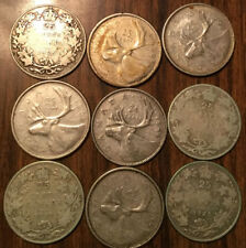 LOT OF SILVER CANADA 25 CENTS LOT OF SILVER QUARTERS 9 COINS TOTAL