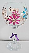 GIN Glass Hand Painted Flower Design PERSONALISED with any NAME Gift Boxed Xmas