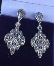 925 Silver Art Deco Marcasite Drop Earrings    271
